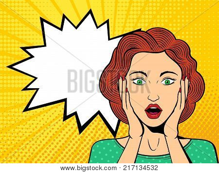Pop art surprised female face with open mouth. Comic woman with speech bubble. Retro dotted background. Stock vector illustration.