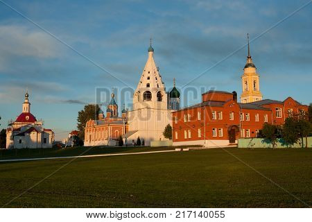 View Of Various Temples And Belltower On Assumption Cathedral Square At Sunset Summer In Kolomna Moscow Region.