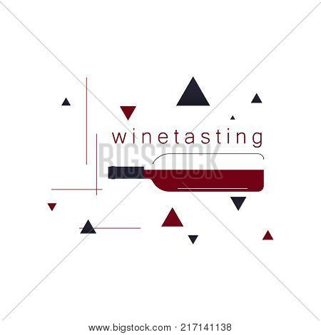 A bottle of wine. Icon, logo, symbol, sign. Illustration in modern style for winery, tasting, restaurant menu, wine list, store. Vector.
