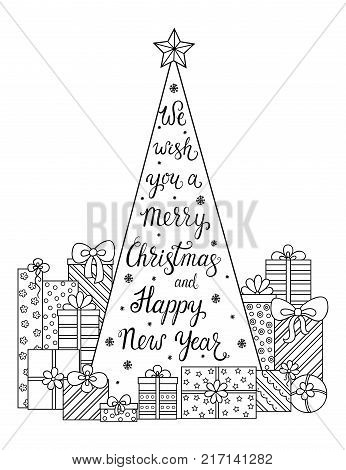 Doodle Pattern We Wish You A Merry Christmas And Happy New Year Decorations