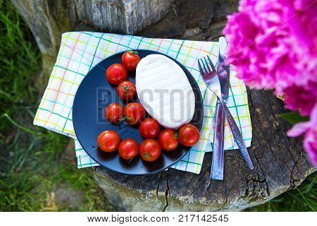 Picnic Wattled Basket Green Grass Setting Food Bread Drink Juice Cheese Pears Banana Summer Time