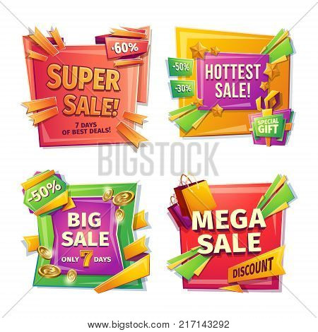 Sale banners, badges, stickers, tags for big holiday sale, black Friday, special offer, vector cartoon set. Super, hottest, big, mega sale 30 50 60 percent Template of advertising design
