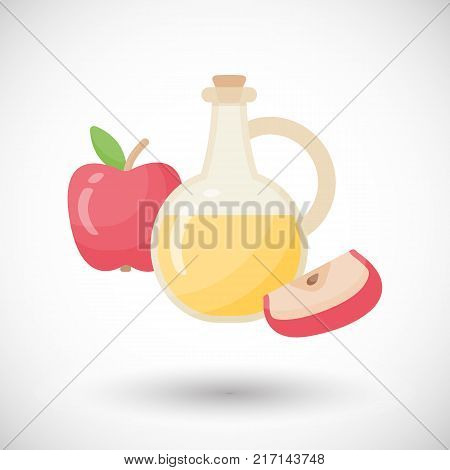 Apple cider vinegar vector flat icon Flat design of salad dressing ingredient or organic food object with round shadow isolated on white background cute vector illustration