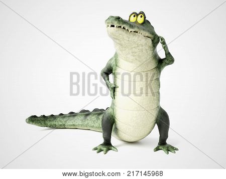 3D rendering of a cute friendly cartoon crocodile thinking about something.