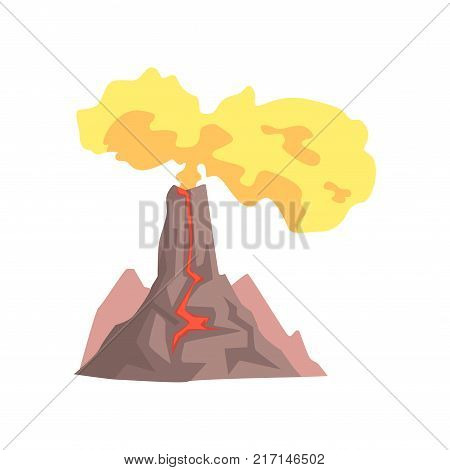 Volcano with lava, mountain rock volcanic with hot magma, volcanic eruption with dust cloud vector Illustration isolated on a white background