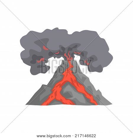 Volcanic eruption, lava flowing down the mountain, volcano with dust cloud vector Illustration isolated on a white background