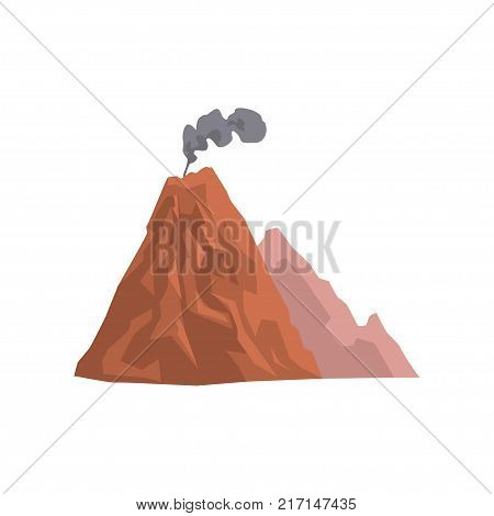 Volcanic mountain with cloud of dust vector Illustration isolated on a white background