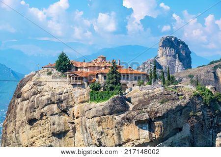 Rocks of the Meteora with Monastery of Holy Trinity (Agia Triada). Meteora Plain of Thessaly Greece Europe