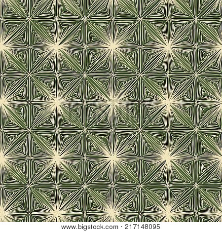 Seamless vector pattern of abstract leaves decor with shadows in green tone.