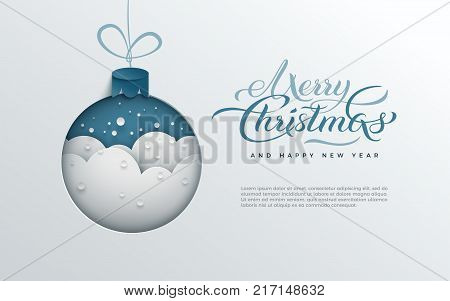 Merry Christmas holiday design paper cut out Xmas tree toy decoration with snowflakes snow on blue background for greeting card banner poster postcard paper cut art style vector illustration