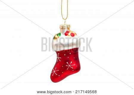red Santa Claus boot isolated on white background