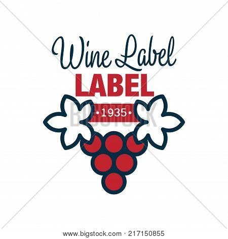 Wine label, 1935, natural top quality product red and blue logo, design element for menu, winery logo package, winery branding and identity vector Illustration isolated on a white background
