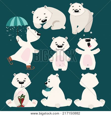 Set of polar bears. Collection of cartoon polar bears. Christmas illustration.