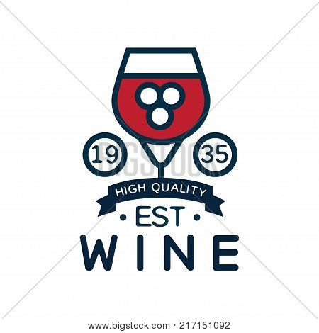 Wine label est 1935, high quality product logo, design element for menu, winery logo package, winery branding and identity vector Illustration isolated on a white background