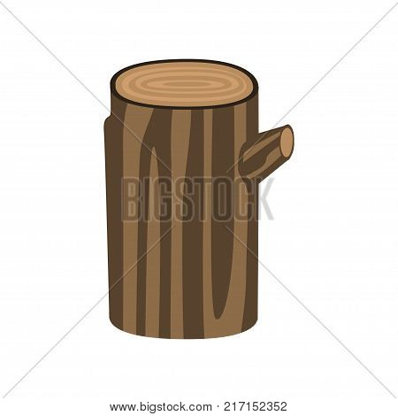 Brown tree trunk isolated on white background. Wood and wooden things manufacturing, firewood production. Organic material, natural texture. Detailed cartoon element. Vector illustration in flat style