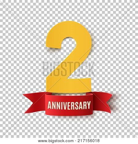 Two years anniversary design. Background with red ribbon.Greeting card, poster or brochure template. Vector illustration.