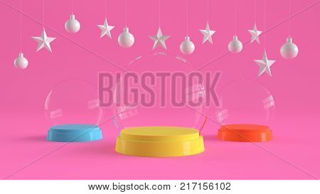 Three glass domes with colorful tray color on pastel pink background with hanging white balls and stars ornaments. For new year or Christmas theme. 3D rendering.