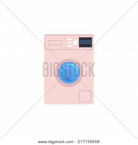 Front view picture of automatic household washer, washing machine with timer, cartoon vector illustration isolated on white background. Front view cartoon washing machine, washer, household appliance