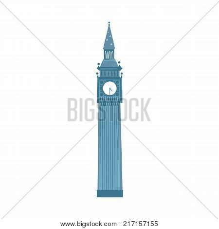 London Big Ben clock tower, symbol and tourist attraction of England and United Kingdom, flat vector illustration isolated on white background. Flat style Big Ben clock tower, London, England symbol