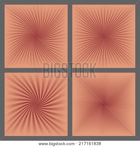 Abstract spiral ray and starburst background design set