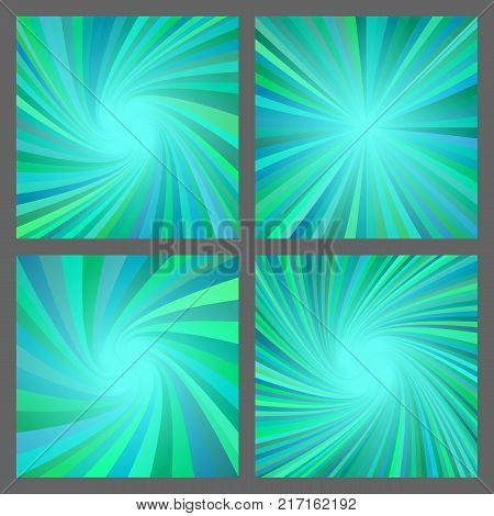Teal abstract spiral and ray burst background design set
