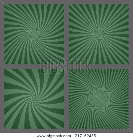 Dark green retro spiral and ray burst background set
