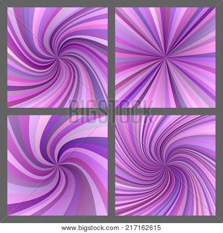 Purple spiral and ray burst background design set