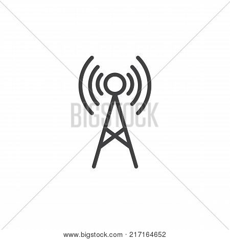 Antenna line icon, outline vector sign, linear style pictogram isolated on white. Radio tower symbol, logo illustration. Editable stroke