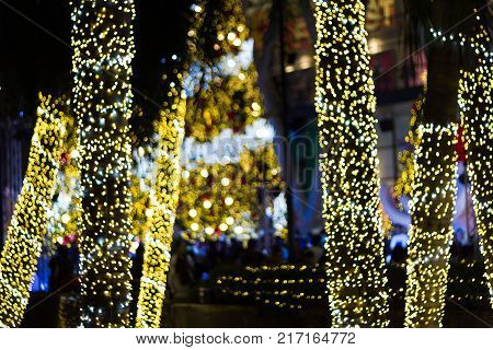 Blurred Decorative outdoor string lights hanging on tree in the garden at night time - decorative Christmas lights - Merry - Xmas  -  happy new year 2018