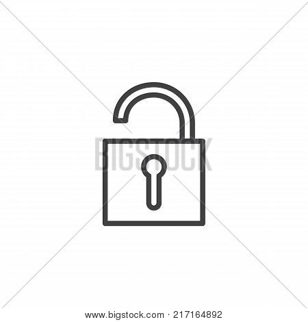 Unlocked padlock line icon, outline vector sign, linear style pictogram isolated on white. Unlock safe secure padlock symbol, logo illustration. Editable stroke