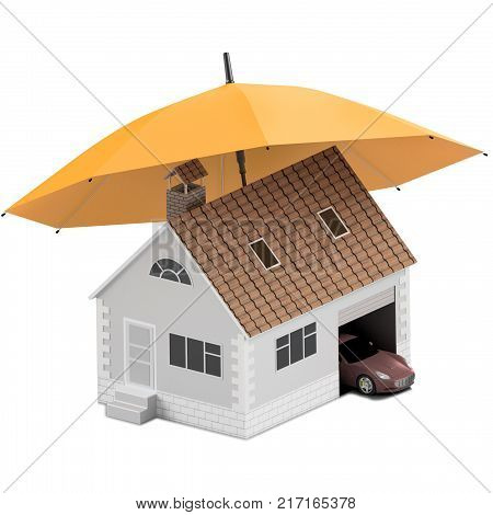 Insurance home house life car protection. Buying house and car for family icon. Protect people Concepts. 3D illustration. Icon for the web site of the bank. Sport car under orange umbrella.Insurance home house life car protection.