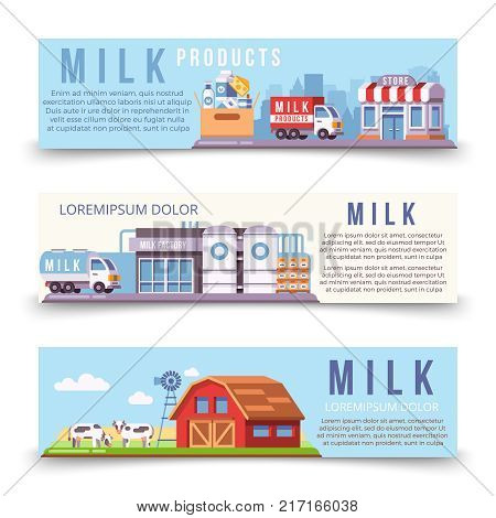 Milk production horizontal banners poster template of set. Vector illustration