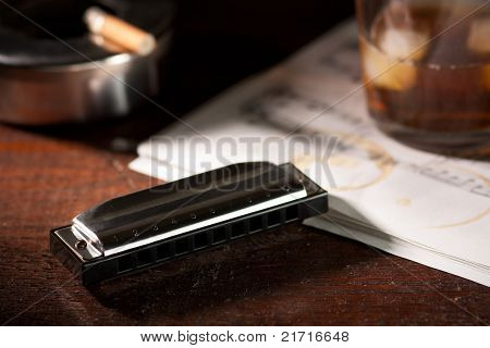 Harmonica with Whiskey and Cigarette