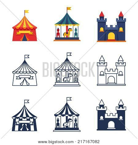 Amusement park color tents circus carnival icons collection. Vector illustration