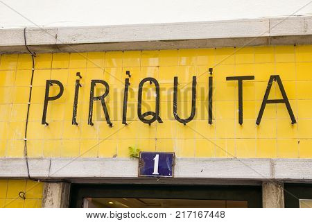 SINTRA, PORTUGAL - 03 JUNE, 2017: Pastry sign in the Rua das Padarias. The Casa Piriquita is the most traditional and it's famous for the travesseiros and the pastel de Sintra.