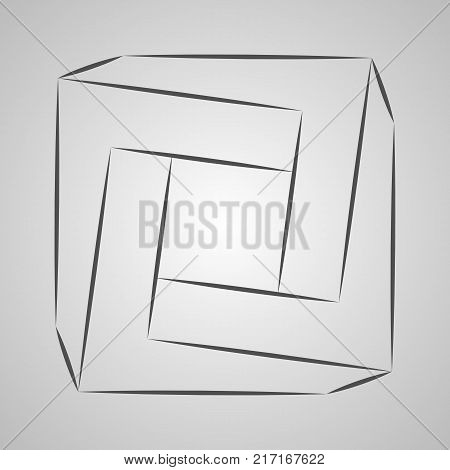 Sketch paradox triangle. Vector trigon. Penrose shape on gray background