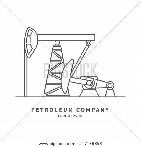 Petroleum Producing Company log with Pumpjack in linear style. Vector illustration.