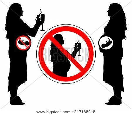 Smoking and drinking alcohol of pregnant woman can lead to miscarriage of baby forbidden sign vector.