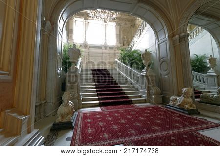 ST. PETERSBURG, RUSSIA - AUGUST 30, 2017: Main staircase of Yusupov palace. The palace was erected in XVIII century, and now it acclaimed as Encyclopedia of St. Petersburg aristocratic interior