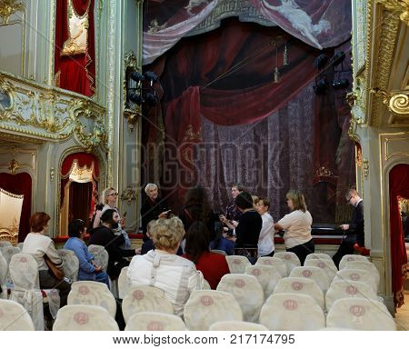 ST. PETERSBURG, RUSSIA - AUGUST 30, 2017: People in the Palace theater of Yusupov palace. The palace is acclaimed as the Encyclopedia of St. Petersburg aristocratic interior