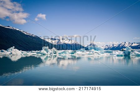 The icebergs on a lake in El Calafate Argentina