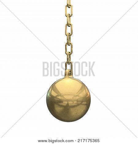 Wrecking ball gold. Demolition sphere hanging on chains. 3d render isolated on whit