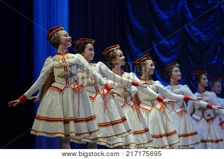 ST. PETERSBURG, RUSSIA - NOVEMBER 16, 2017: Students of Vaganova Ballet Academy perform during anniversary gala concert of Oleg Vinogradov. Great choreographer celebrated his 80th anniversary