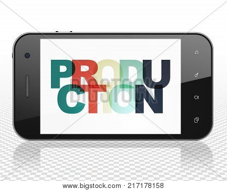 Business concept: Smartphone with Painted multicolor text Production on display, 3D rendering