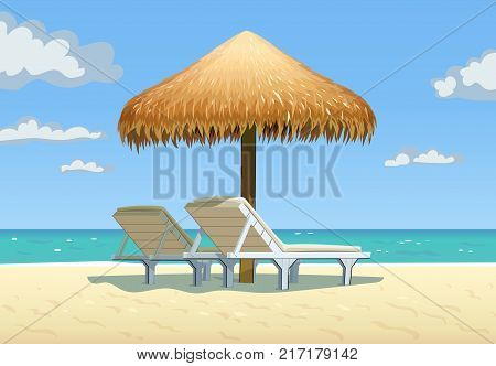 Ocean beach with umbrella and bed. Eps10 vector illustration.