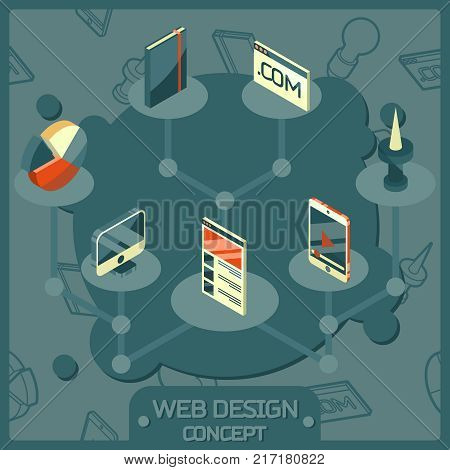 Web design color isometric concept icons. Logo design, vector design, stationary, branding, corporate identity, product design poster