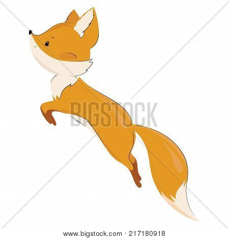 Vector stylized fox in a jump. A cartoon fox. Forest inhabitants. Illustration for children.