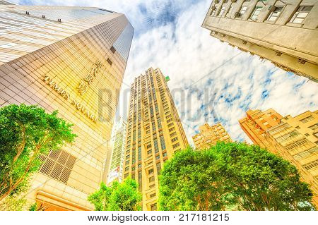 Hong Kong, China - December 6, 2016: Times Square, the largest shopping mall in Causeway Bay and popular icon of luxury shopping in Hong Kong. Spectacular perspective view background at sunset.