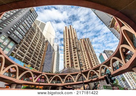 Hong Kong, China - December 6, 2016: characteristic elevated walkway between Pennington Street and Yee Wo Street in the famous luxury shopping district of Causeway Bay in Hong Kong Island.