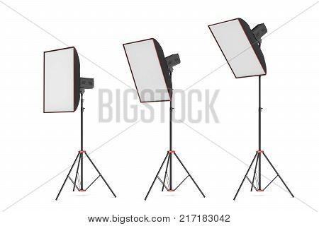 3d rendering of studio flash with small size softboxes stands turned down in several angles. Professional lighting gear. Photo shoot necessities. Preparation for photographer's work.